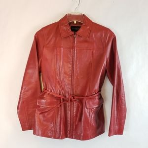 Express | Red Leather Tie Waist Jacket Womens Med